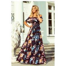 f266e64884c6 Numoco dlouhé dámské šaty s barevnými květy a španělským výstřihem 194-3  černá