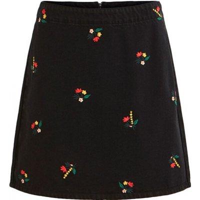 Vila sukně VIDAHLA HW NEW EMB DENIM SKIRT Black Embroidery