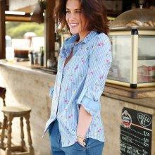 Blancheporte Bavlněná košile s proužky a kytičkami proužky modrá