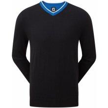 FootJoy svetr Wool Blend V-Neck černo modrý