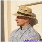 Pánský slaměný klobouk s krempou nahoru a stuhou originál Karpet 70304 e55730f73d