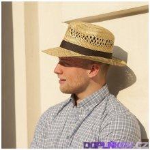 1d86970fb794 Pánský slaměný klobouk s krempou nahoru a stuhou originál Karpet 70304
