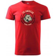 Heavy new triko pánské Americký pitbull terier hlava Červená 75a42b9308c
