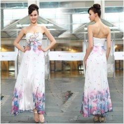 Ever Pretty Letní dámské společenské dlouhé šaty bez ramínek bílé s  potiskem květin a výšivkou 9935 8d8fa200e1