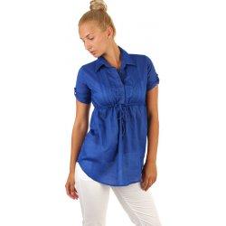 TopMode Prodloužená dámská halenka krátký rukáv modrá od 299 Kč ... f1832ef967