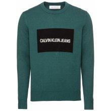 Calvin Klein Jeans Pulovr 'INSTITUTIONAL BOX SWEATER' smaragdová / černá