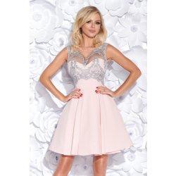 ac522a6cb049 Dámské koktejlové šaty s krajkovým živůtkem růžová