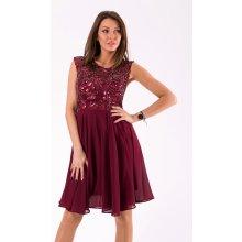 516ff810492f Dámské společenské šaty s flitry Lucy vínová