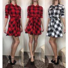 0f2f06c47 Italská móda dámské šaty košilové dlouhý rukáv kostkované IMC19029/A