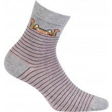 d9209ca8c4 WOLA Dívčí vzorované ponožky KOČKA šedé