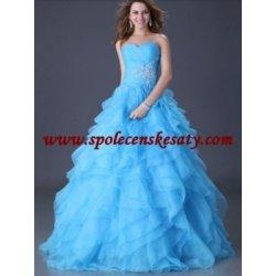 Luxusní společenské světlemodré dlouhé šifonové svatební šaty na jedno  rameno 1df674c65d4