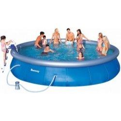 Bazén Bestway Fast Set 549 x 107 cm, kartušová filtrace, schůdky, krycí a podkladová plachta, bazénový vysavač Deluxe