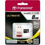 Transcend microSDHC 8GB Class 10 + USB čtečka TS8GUSDHC10-P3