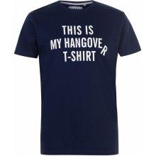 Fabric Slogan T Shirt Mens Navy