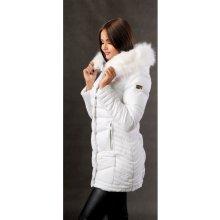Dlouhá dámská zimní bunda bílá