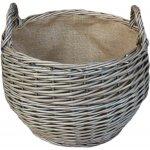 Willow Direct Proutěný koš na dřevo antique zkosený malý juta pr. 35 cm