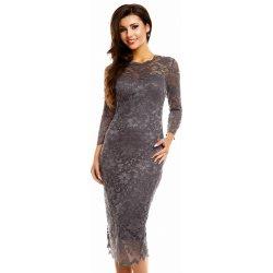 Mayaadi společenské šaty krajkové s dlouhým rukávem středně dlouhé tmavě  šedá dámské šaty 667d7547670
