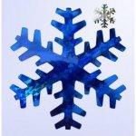 Vánoční vločka stříbrno-modrá 15cm holografická