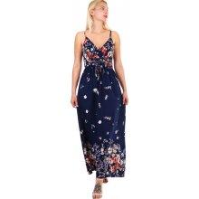 YooY dámské maxi šaty s květinovým vzorem tmavě modrá ef6132a930