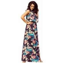 181ad375e29 Dámské maxi šaty bez rukávů s rozparkem s květinovým vzorem černá