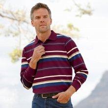 Blancheporte Proužkované polo tričko s dlouhými rukávy švestková
