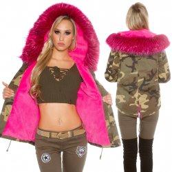 Dámská bunda a kabát Koucla maskáčová zimní parka s kožešinou fuchsiová 9ab7564cde7