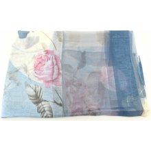 Arteddy Dámský hedvábný květovaný šátek modrá b1758c0846