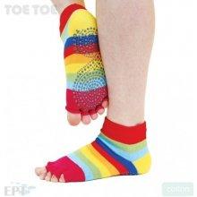 ToeToe JOGA NO FINGER trainer bezprstové ponožky protiskluzové rainbow duha