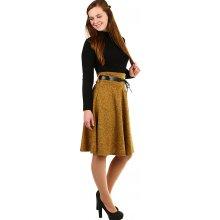 e3c12740aa27 YooY podzimní dámská áčková sukně ke kolenům hořčicová 402478