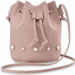 524a317646 Kabelka stylová dámská kabelka měšec pytel přes rameno se stahovací šňůrkou  a perličkami růžová