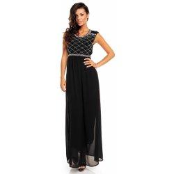 ad2c8138989 Maïa Hemera Paris dámské dlouhé společenské a plesové šaty se zdobeným  živůtkem 021 černá
