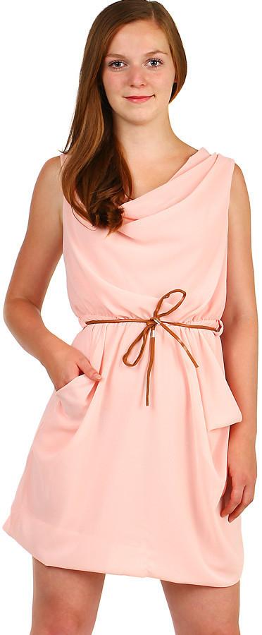 389b6be6dbe6 YooY dámské šifonové mini šaty s páskem světle růžová od 545 Kč - Heureka.cz