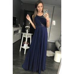 Eva   Lola dámské společenské a plesové dlouhé šaty s perličkami tmavě modrá 6c645199662