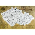 Stírací mapa turistická Česká republika - stříbrná stírací plocha