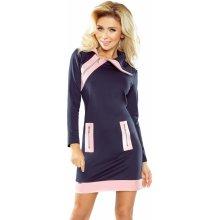 Numoco šaty dámské zipy 129-5 tmavě modrá růžová 2eb425a7083
