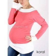 těhotenské tričko tunika dlouhý rukáv korálová + bílá