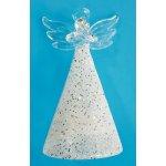 Anděl skleněný na postavení, třpytivý 9 cm