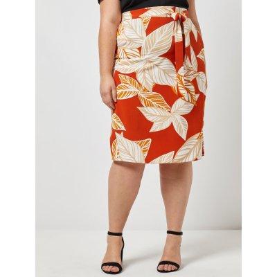 Dorothy Perkins Curve vzorovaná sukně oranžová