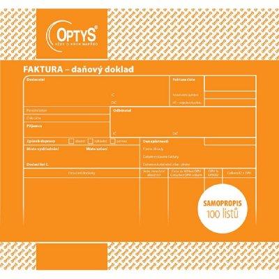 Optys 1074 Faktura samopropisovací 20x21cm 100 listů