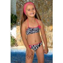 LORIN dětské dívčí plavky dvojdílné pruhované s čelenkou