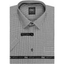AMJ pánská košile šedá kostičkovaná VKR916, krátký rukáv
