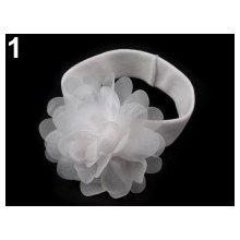 Dětská elastická čelenka s květem bílá
