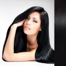 Clip in vlasy 55 cm 100% lidské – remy 70 g - 1# - uhlově černá
