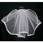 Svatební závoj jednovrstvý lemovaný 30 cm - bílá