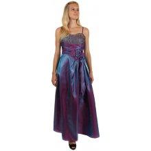 d6153e30c22c YooY dlouhé večerní šaty se zlatou výšivkou a květinovou aplikací fialová