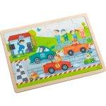 Haba Dřevěné puzzle závodní auta