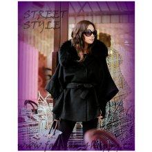 F4H dámský kabát flaušový s kapucí a kožešinkou 72323 černá