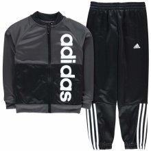 Adidas Lin Logo Polyester Tracksuit Junior Boys DkGrey Blk Wht