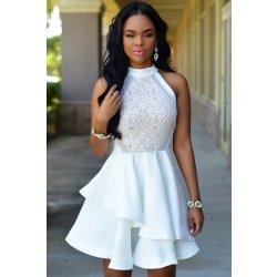 5df14e5fbd99 Dámské společenské šaty asymetrické krajkové mini bílé alternativy ...