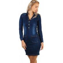 c5599c12e5f Krátké dámské džínové šaty s dlouhým rukávem 269300 tmavě modrá